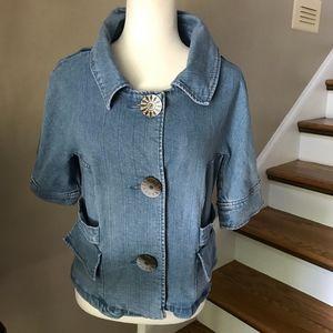LAL Faded Denim Short Sleeved Jacket Small
